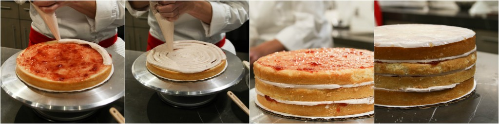 layering the strawberry cake