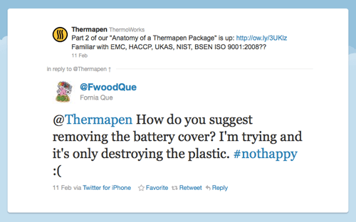 """Twitter Post """"How do you suggest removing the battery cover? I'm destroying the plastic"""""""