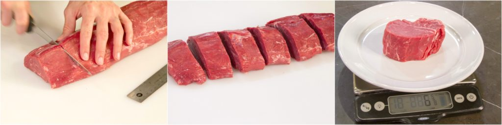 Slicing beef tenderloin into filet mignon steaks
