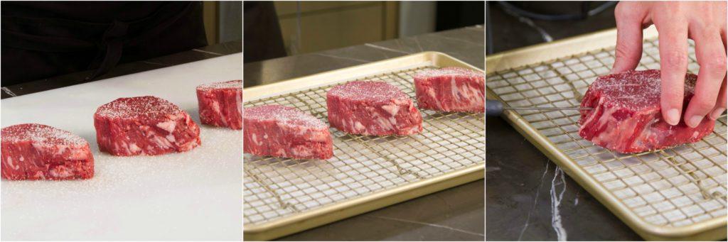 Seasoning filet mignon steaks