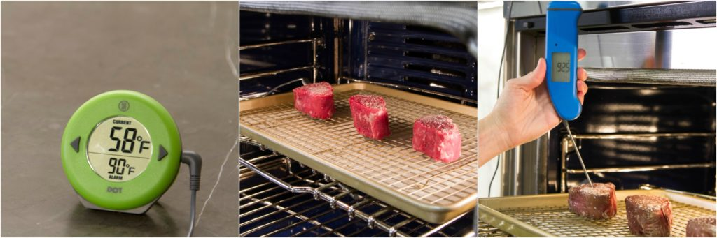 Cooking temperature of filet mignon steaks.