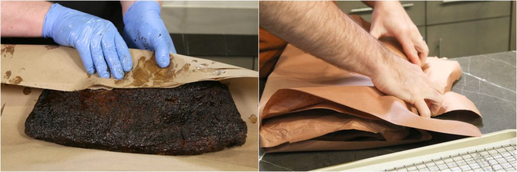 "Wrapping brisket in peach paper while smoking—the ""Texas Crutch."""