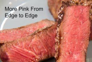 Cooked steak medium rare from edge to edge.