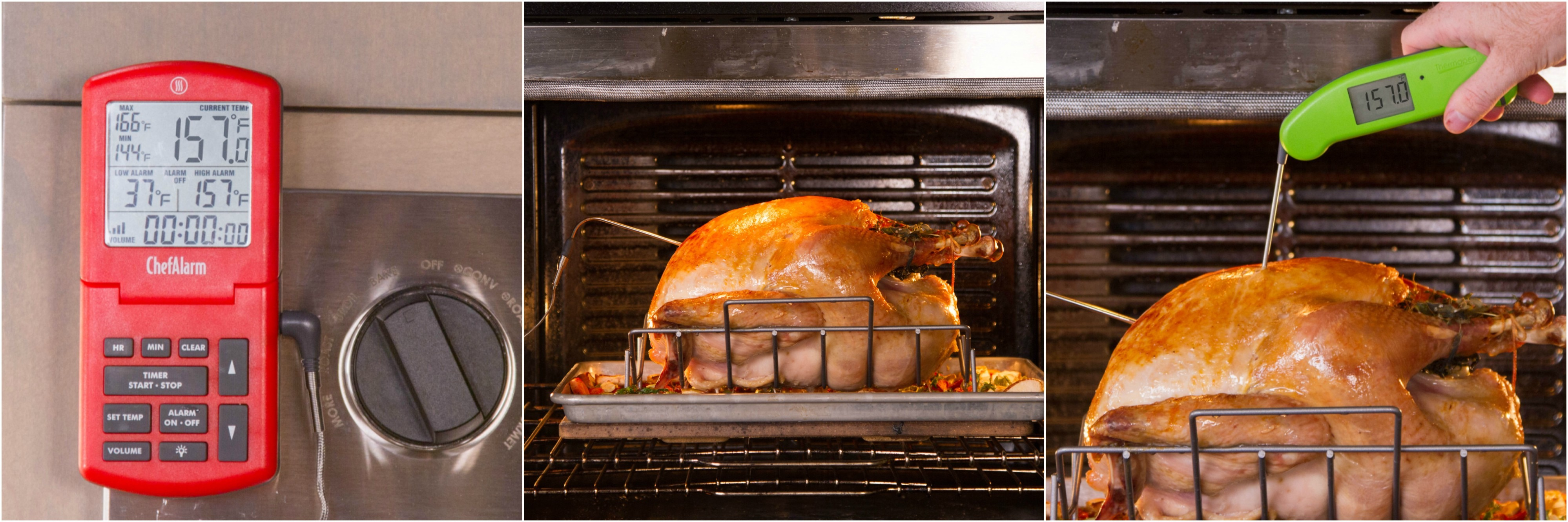 for perfect turkey, monitor it during the cook and verify the temp afterwards