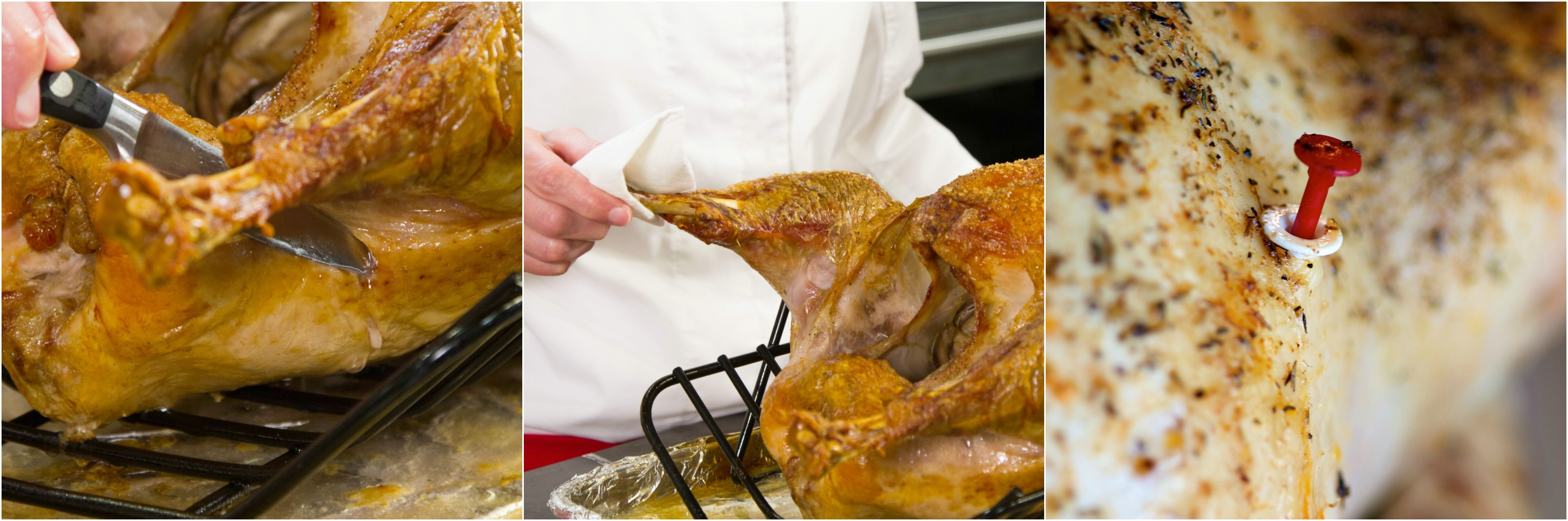 Don't check your turkey's doneness by wiggling a leg or by cutting it. Use a thermometer.
