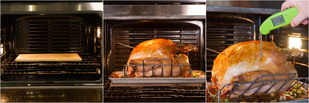 Cook your turkey over a hot preheated stone or steel to cook the legs properly