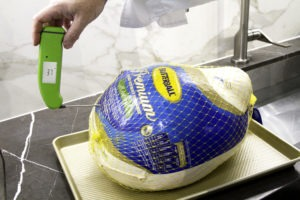 Verify that the turkey is thawed with an instant-read thermometer
