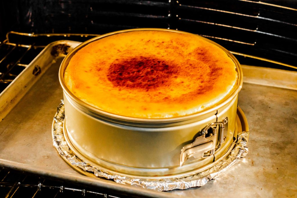 A golden-brown top to our cheesecake