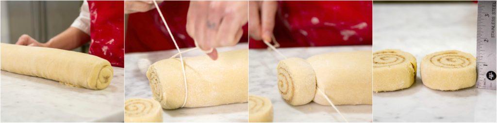 Cutting log into cinnamon rolls with twine.