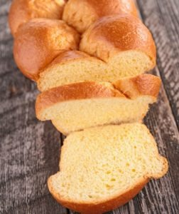 Sliced loaf of brioche