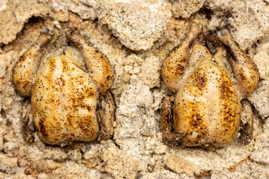 Two salt-raosted game hens, sitting in their crushed salt crusts