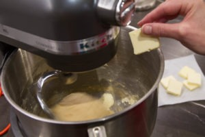 Adding butter while making brioche dough