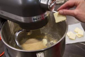 Adding butter while making brioche dough