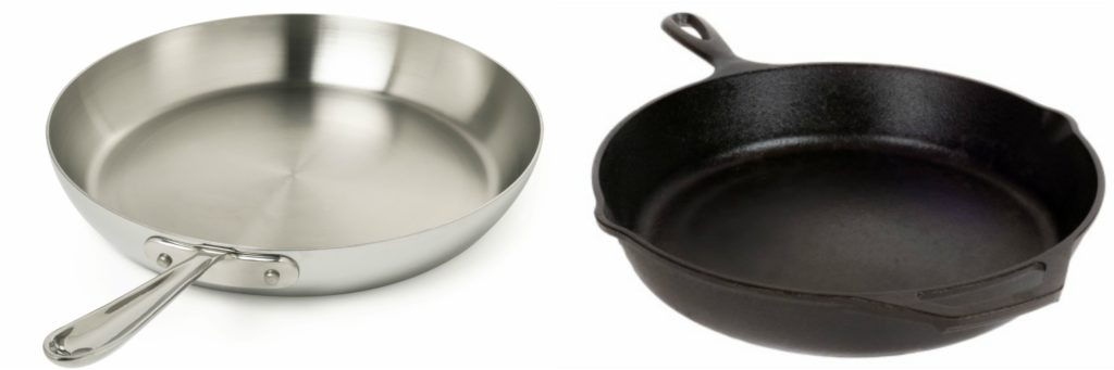 Emissivity of aluminum and cast iron pans