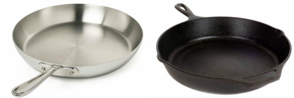 Emissivity of aluminum and cast iron pans