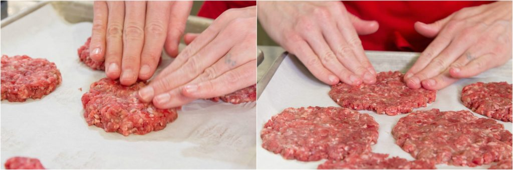 "Flattening meat patties to 1/4"" for making stuffed burgers."