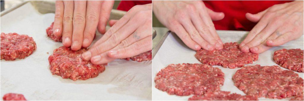 "Flattening meat patties to 1/4"" for making stuffed burgers."