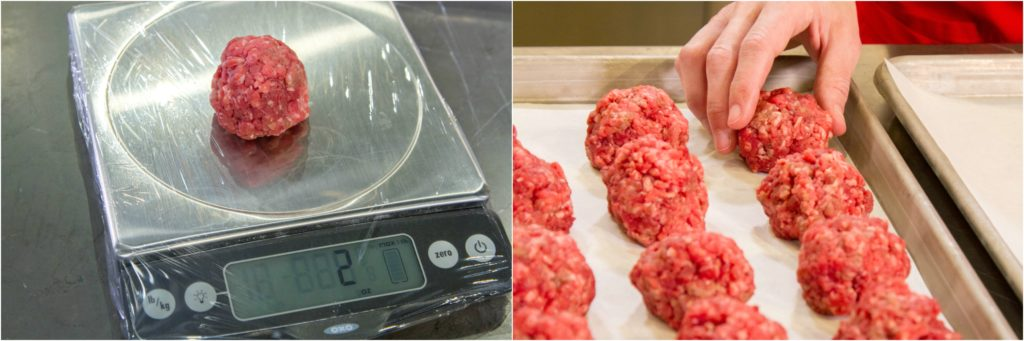 Scaling meat into 2 oz. portions for making stuffed burgers.