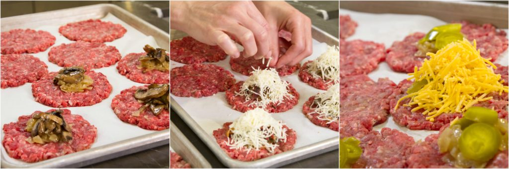 Filling stuffed burgers with caramelized onions, sauteed mushroom, and shredded cheese.