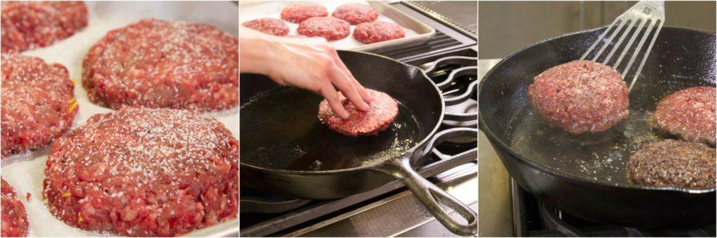 Seasoning, searing, and flipping stuffed burgers.