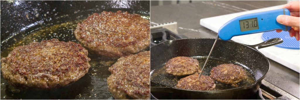 Checking the final cooked temperature of stuffed burgers with a Thermapen Mk4.