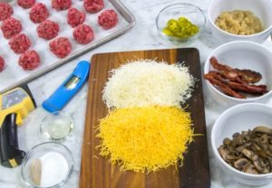 Ingredients for making stuffed Burgers.