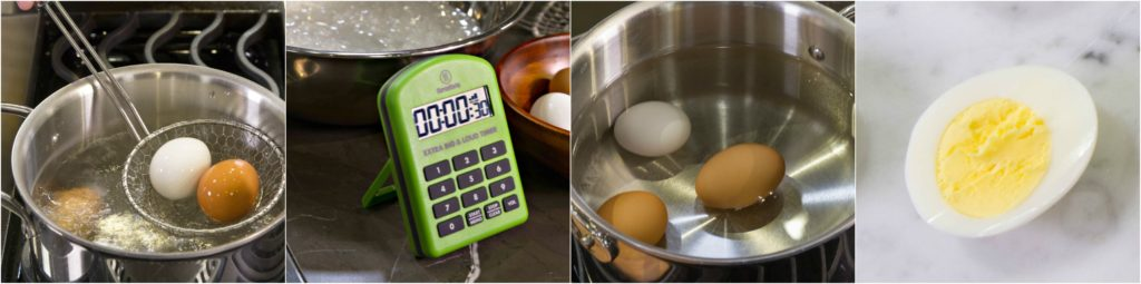 Blanch, shock, boil, shock method for hard boiling eggs.