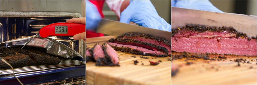 Verifying pull temperature of smoked pastrami with a Thermapen. Slicing finished pastrami.