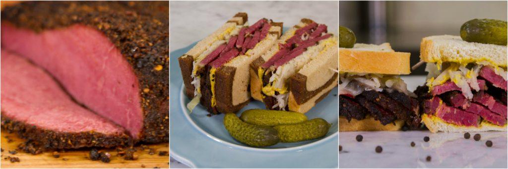 Pastrami sandwich on rye with sauerkraut and mustard.