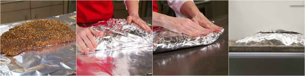 Wrapping smoked pastrami to refrigerate overnight before steaming.