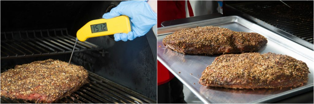 Verifying pull temperature of smoked pastrami with a Thermapen.