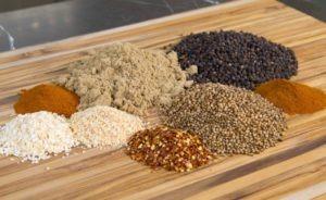Ingredients for pastrami spice rub recipe.