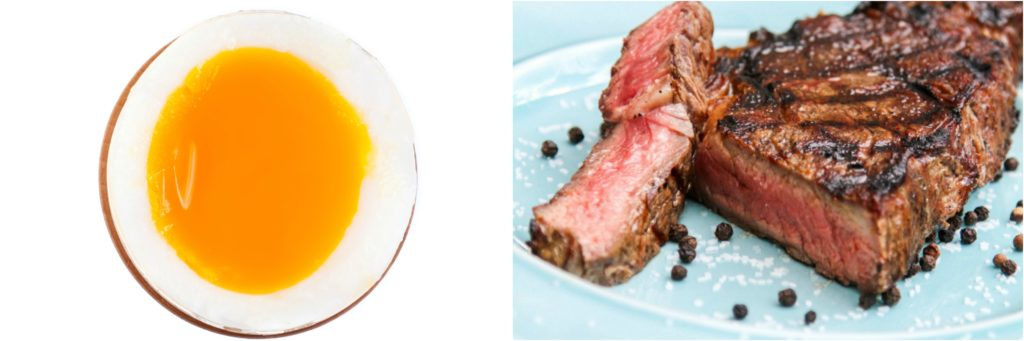 The temperature gradients of a soft boiled egg are similar to a medium rare steak.