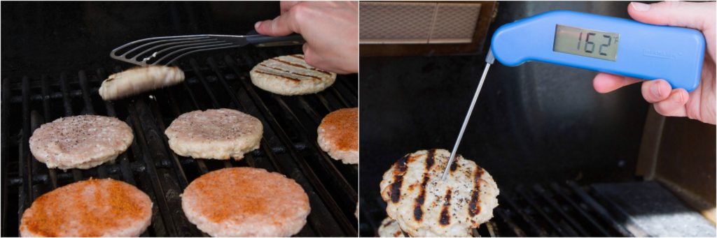 Grilling turkey burgers. Final doneness temperature of 160°F to 165°F.