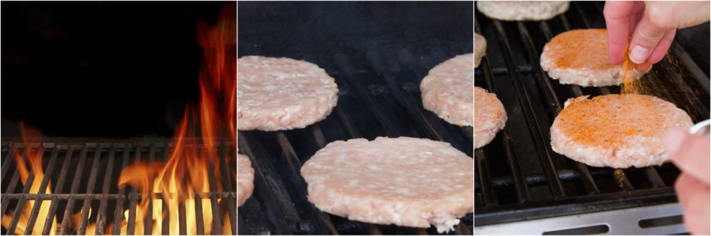 Heating grill, placing turkey burgers on grill.