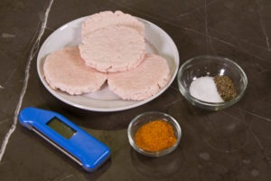 Grilled turkey burger ingredients, and ThermoWorks Classic Thermapen.