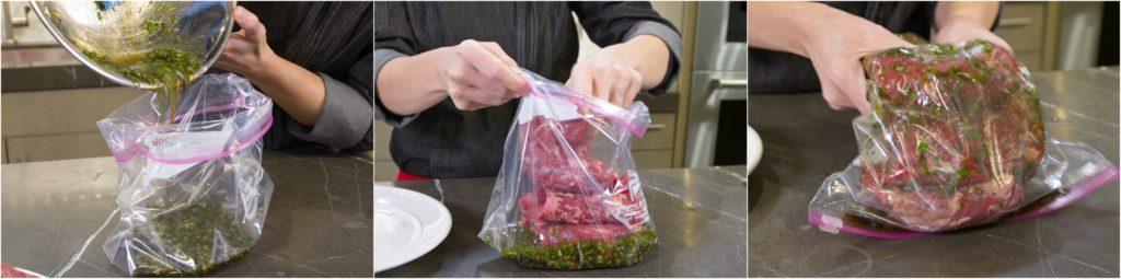 marinating skirt steak for carne asada.
