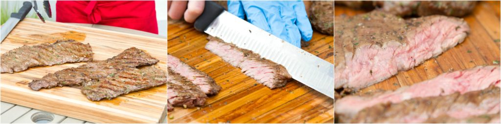Slicing grilled skirt steak thinly against the grain.