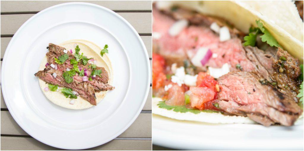 Skirt steak carne asada tacos.