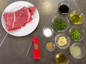 Ingredients for skirt steak carne asada.