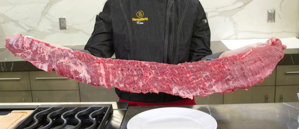 Raw skirt steak