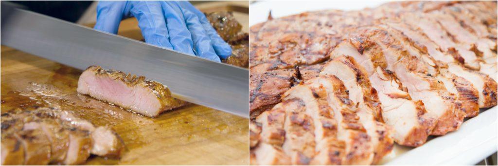 Slicing and serving grilled pork tenderloin.