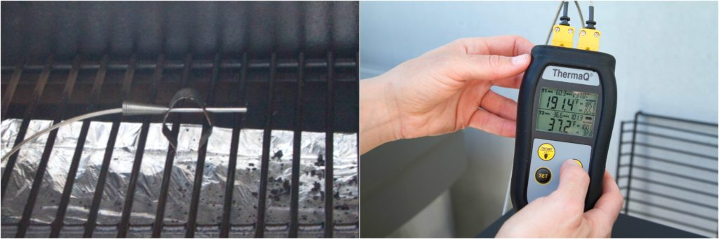 Securing air probe to grill grate with grate clip, setting temperature on ThermaQ.