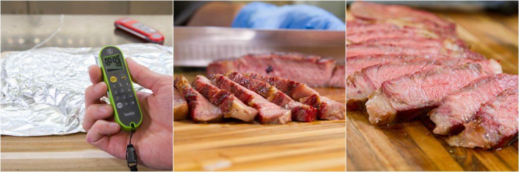 Resting reverse seared ribeye steaks, then slicing.