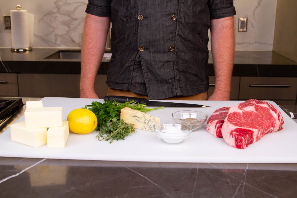 Ingredients for grilled rib eye steak