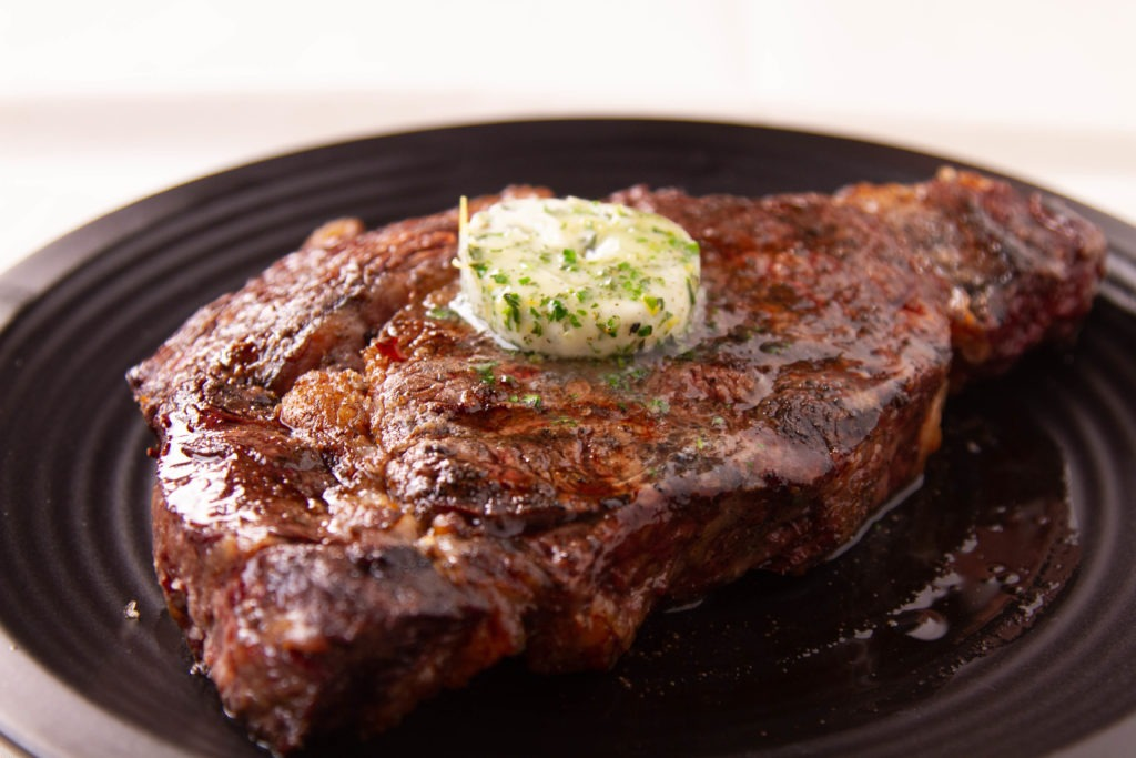 Grilled rib eye steak with compound butter recipe