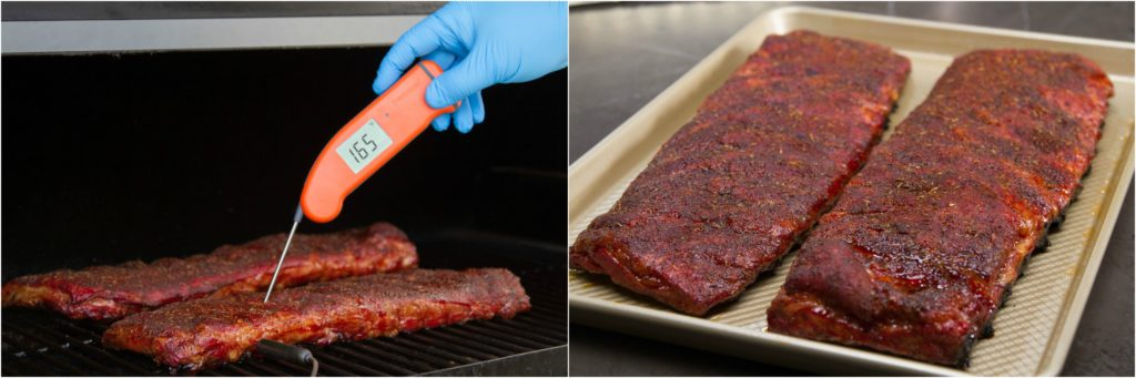 Verifying the internal temperature of pork ribs with a Thermapen Mk4