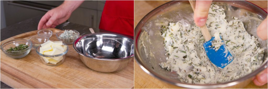 Making herb and gorgonzola compound butter.