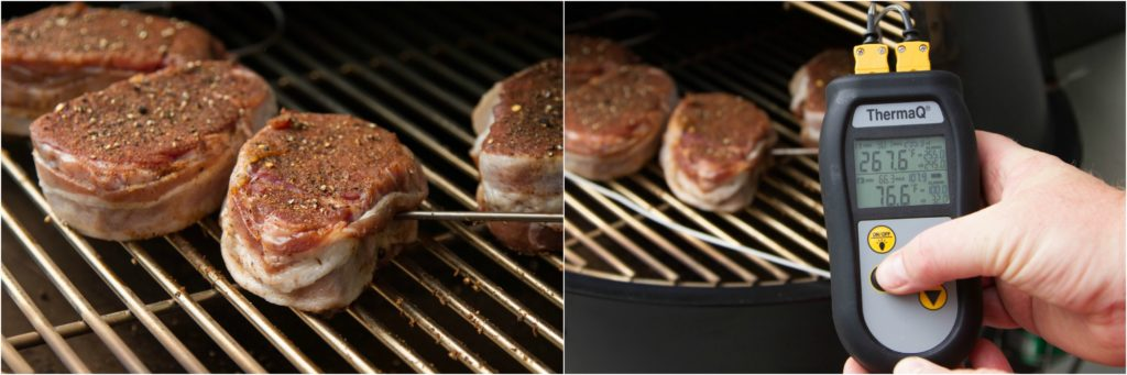 Placing a Smokehouse Penetration probe into a filet mignon steak for smoking, and setting a temperature on ThermaQ.