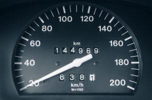 Speedometer and odometer closeup